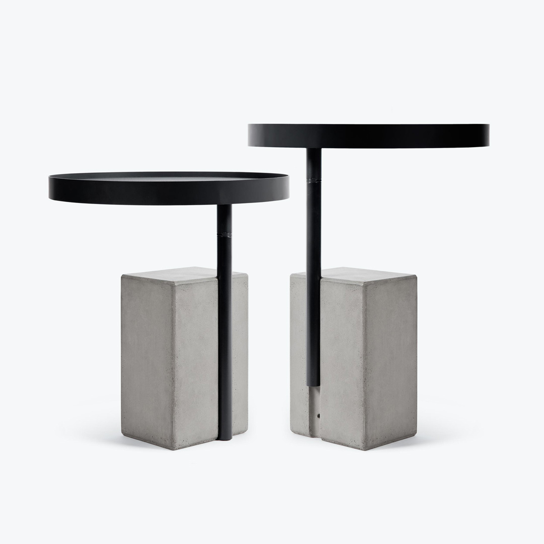 the two height of the rotating tray of the side table with a concrete base